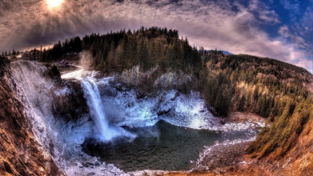 Snoqualmie Falls in Washington State - Blue, Sunset, Rock, Sky, Waterfalls, Trees, Clouds, Pool of Water, Snow, Dark Clouds, Sunlight, House, Falls