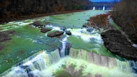 Great Falls in Tennessee - Trees, Cascading Waterfalls, Green, Falls, Blue Sky, Rocks, Several Falls, Breathtaking, Dam, Beautiful