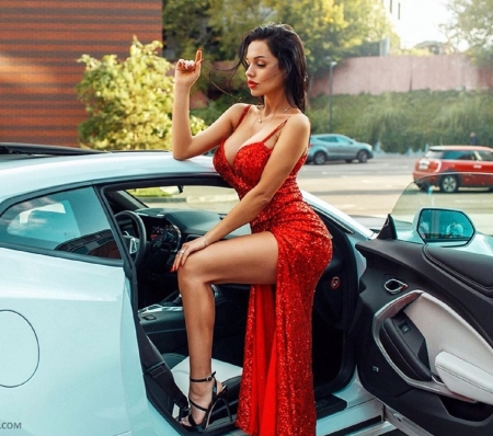 Lilya Volkova - long red dress, black heels, brunette, exposed left leg, sports car, sexy, jewelry