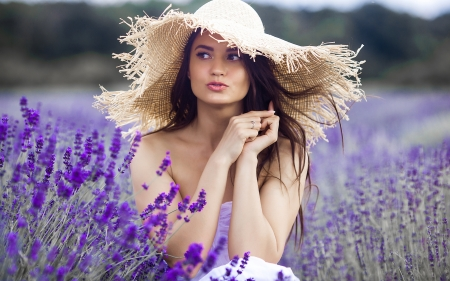 ლ - Girl, Field, Hat, Summer, Flowers
