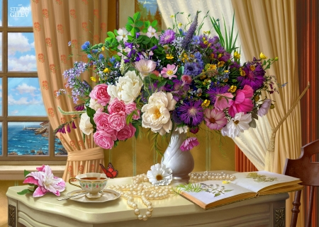 Morning bouquet - colorful, table, art, cozy, view, beautiful, tea, still life, coffee, bouquet, summer, flowers, room, morning