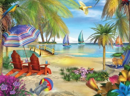 Lake Como - beach, boats, flowers, chairs, umbrella, artwork, sea, palms, painting