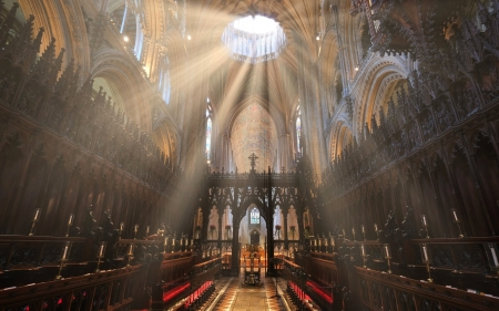 Sunrays in Cathedral - sunbeams, church, England, Cathedral, interior