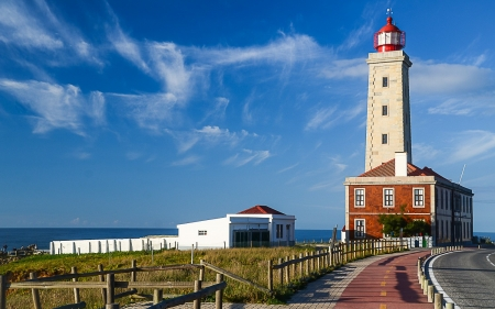 Lighthouse - sky, road, sea, lighthouse