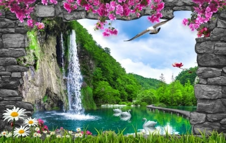 Waterfall in paradise - summer, park, spring, lake, swans, forest, greenery, beautiful, pond, paradise, wildflowers, waterfall