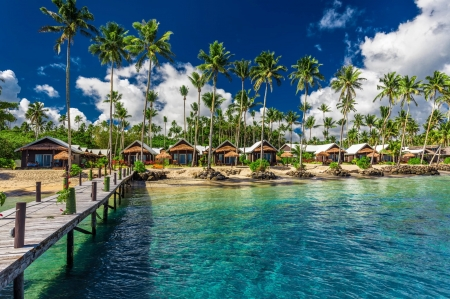 Rest in Samoa - summer, pool, tropics, rest, vacation, huts, beautiful, palms, beach, Samoa, paradise, sands