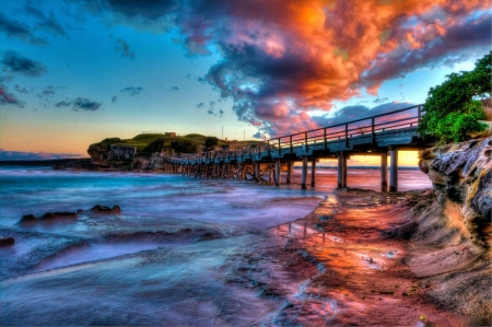 Bare Island La Perouse, Sydney - sky, bridge, sea, australia, sunset, clouds