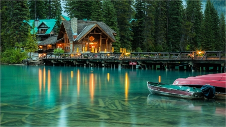 Emerald Lake, Yoho National Park, B.C., Canada - pier, lights, house, boat, evening, trees