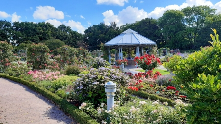 Flower Park - sky, trees, roses, gazebo, clouds