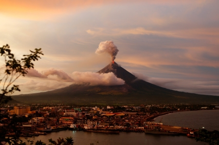 philippines - city, volcano, smoke, eruption