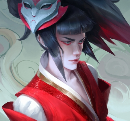 Blood Moon Akali - fantasy, girl, akali, blood moon, astri lohne, akalired, mask, red, lol, league of angels