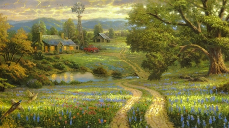 Country Living Painting - House, Nature, Road, Birds, Sky, Trees, Car, Clouds, Flowers, Country, Painting