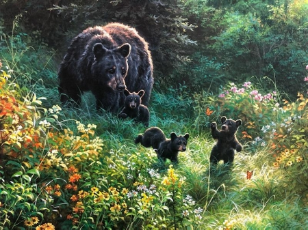 Bear Family - cute, flowers, cubs, artwork, painting