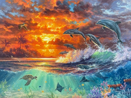 Beyond the shore - pelican, dolphins, rays, painting, sunset, turtle, palms, artwork
