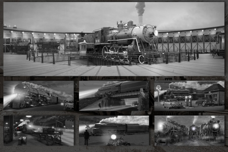 Steamers at Night - black and white, steam, night, trains, collage