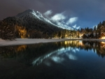 Winter Night at Lake Jasna (Slovenia)
