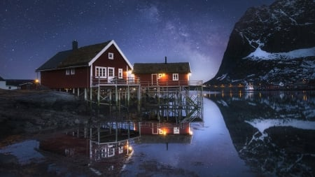 Red Houses under the Milky Way Reflected in the Water - houses, snow, mountains, nature, milky, reflection, lake