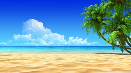 Tropcial beach art - beach, art, seashore, painting, summer, tropical, landscape, scene, wallpaper