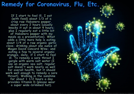Remedy for Coronavirus, Flu, Etc. - hope, coronavirus, love, fever, wisdom, faith, health, coughs, healing, pandemic, COVID-19, religious, retired, bronchitus, global pandemic, fitness, seniors, flu, peace, sinusitus, home remedies, colds, virus