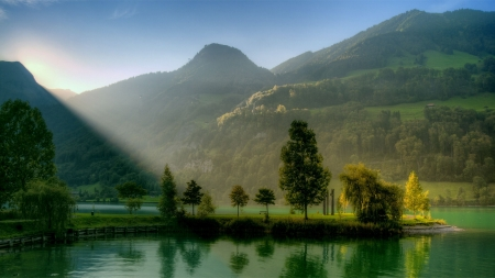Mountains_Nature_Landscape - mountains, nature, reflection, trees, pretty, cloud, fog, mist, photography, water, UHD, light