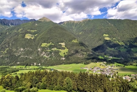 Ahrntal Valley - village, south tyrol, sky, alps, italy