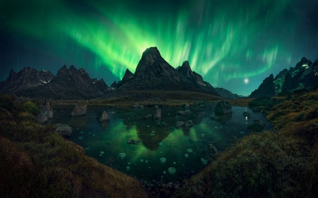 Aurora Borealis Over Greenland - mountains, lake, night, northern lights, nature, landscape