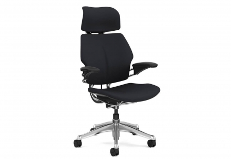 Freedom Headrest Polished Aluminium - Leather Bizon Black - office chairs online, Office Desk Chair, Ergonomic Office Chair, Ergonomic Office Furniture
