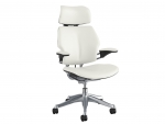 Freedom Headrest Polished Aluminium - Leather Bizon White