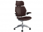 Freedom Headrest Polished Aluminium - Leather Bizon Brown