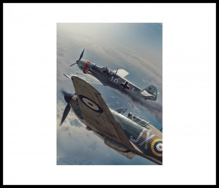 Air To Air Combat - German, Aircraft, Sky, Smoke, British, WWII, Fire