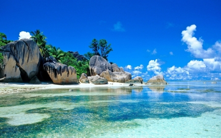 Seychelles - sea, rocks, beach, Seychelles, sand, nature, trees