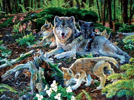 Wolf Family - forest, chipmunk, painting, flowers, butterflies, trees, pups, artwork