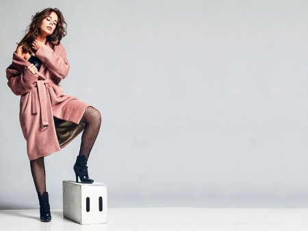 Laia Costa - Costa, beautiful, Laia Costa, coat, stockings, actress, wallpaper, 2020, Spanish, Laia, brown, bra, boots, tights, model, legs, fishnets, black, sexy