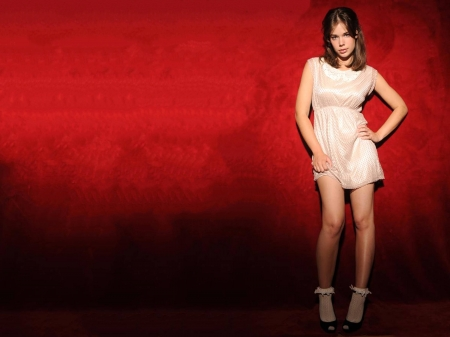 Laia Costa - red, dress, legs, model, socks, Costa, beautiful, sexy, Laia Costa, heels, actress, wallpaper, 2020, Spanish, Laia