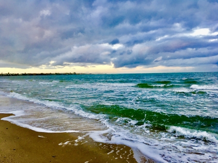 Stormy Morning - water, sand, winter, beach, clouds, sea