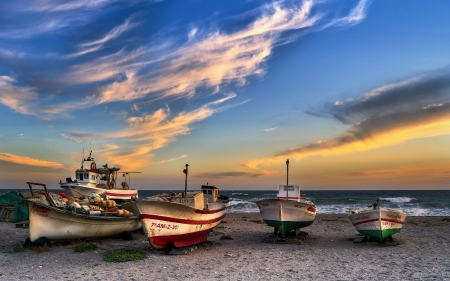 Boats on Beach - beach, boats, clouds, sea