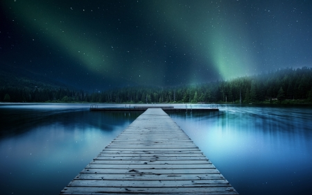 Jetty Lake Night Sky - stars, northern lights, Jetty, pier, nature, evening, trees, lake, sky
