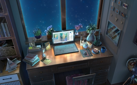 Computer Place - table, laptop, anime, night, interior