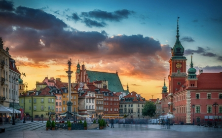 Warsaw, Poland - Poland, palace, square, Warsaw, houses