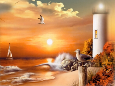 sunset at the lighthouse - boat, butterfly, sunset, nature, seagulls, bushes, lighthouse, sea