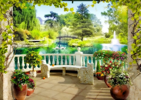 Garden scenery - view, relax, balcony, beautiful, lake, swans, pond, paradise, arch, serenity, garden, summer, flowers, scenery