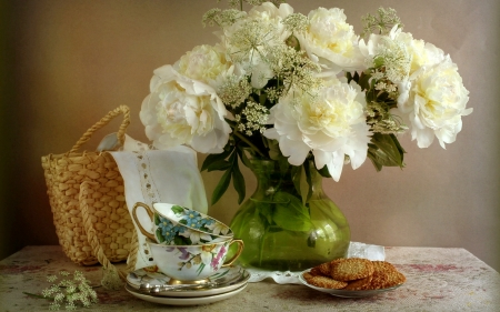 Peony Still Life - white, cups, peonies, cookies, still life, basket