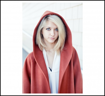 Blonde in Red Sweat Jacket - Red Jacket, White Top, Blue Eyes, Blonde, Beauty