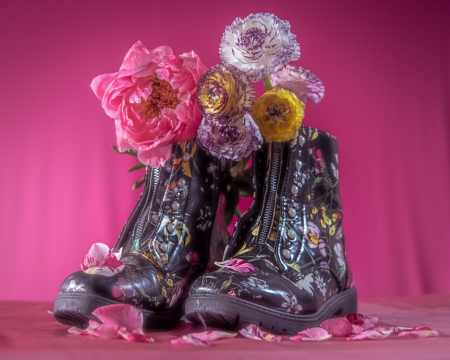 Floral - boots, pink, abstract, 4K, photography, flowers
