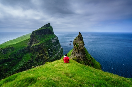 Mykines, Faroe Islands,Denmark - ocean, islands, horizon, rock, nature, cliff