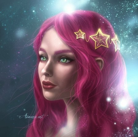 Asmura - hair, frumusete, as mura, fantasy, luminos, face, pink, star, girl