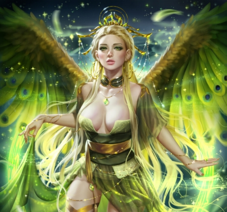 Angel - luminos, green, angel, superb, yanai draws, gorgeous, wings, frumusete, fantasy, girl