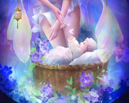 The new born - child, baby, blue, frumusete, luminos, new born, lightwing academy, fantasy, basket, copil, flower, fairy