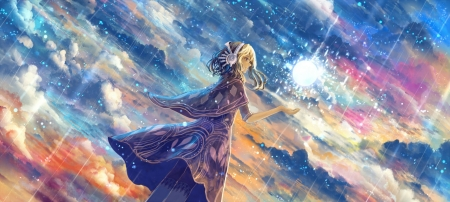 ~Falling Stars~ - shooting stars, sky, anime, fantasy, magical, clouds