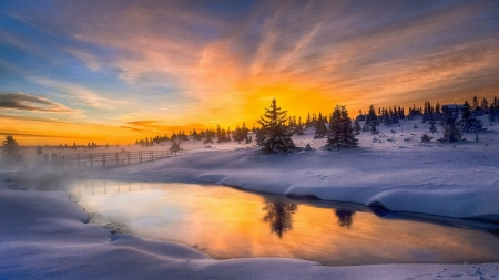 Snow Dust - nature, snow, reflection, winter, sunset